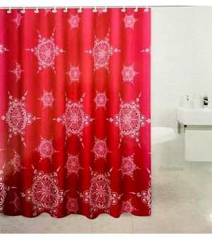 Cortina de baño mandalas red